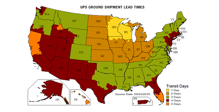 UPS Ground Shipment Lead Times